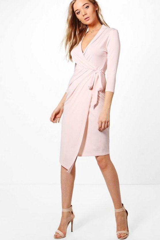 Wrap Front 3/4 Sleeve Midi Dress