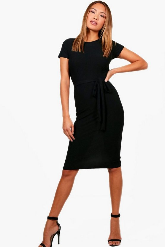 Womens Black Tie Waist Fitted Dress