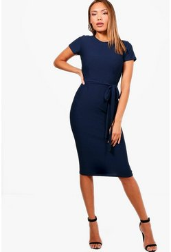 Womens Navy Tie Waist Fitted Dress