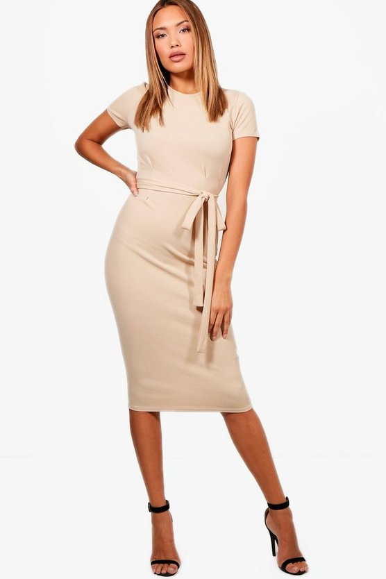 Womens Tie Waist Fitted Dress