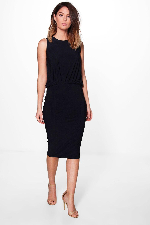 alexandra drape sleeveless fitted dress | boohoo