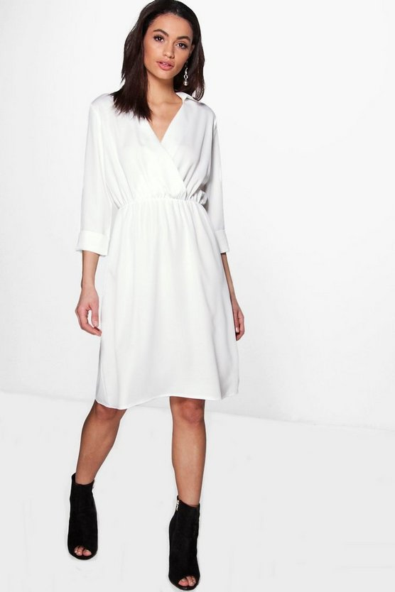 Joanna Premium Wrap Over Tailored Dress