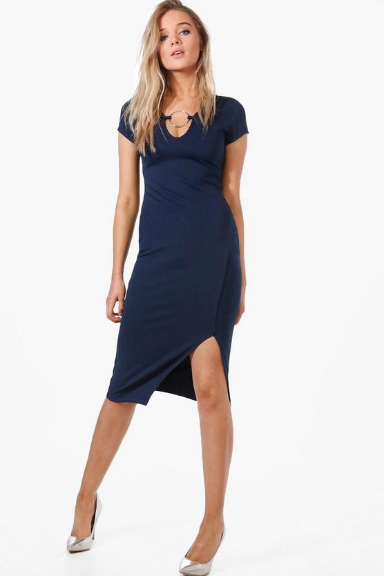 Womens Navy Olivia O-Ring Detail Midi Dress