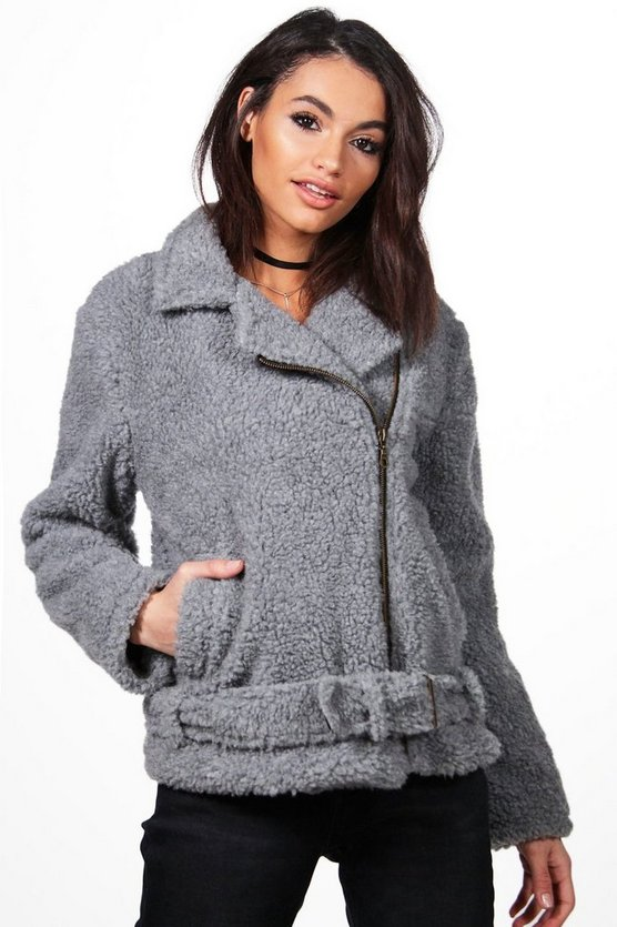 Womens Silver Alexis Teddy Fur Biker Jacket