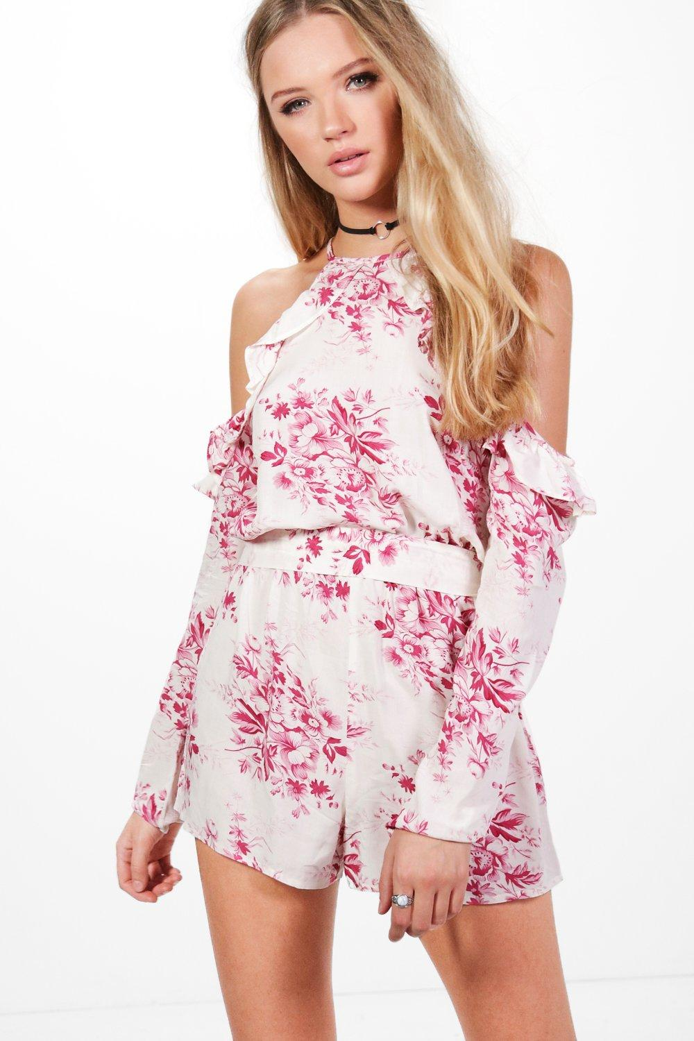 Violet Cold Shoulder Floral Playsuit