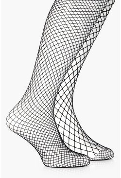 Womens Black Mixed Scale Fishnet Tights 2 Pack
