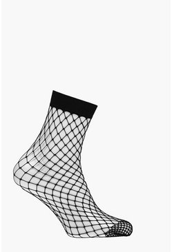 Womens Black Diamond Fishnet Ankle Socks
