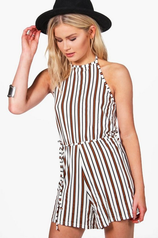 Halterneck Striped Tie Belt Playsuit