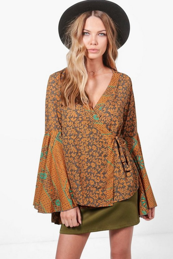 Emily Printed Wide Sleeve Woven Top