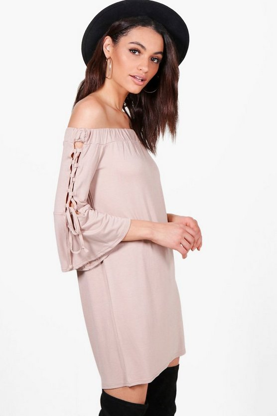 Alexis Off The Shoulder Eyelet Sleeve Shift Dress
