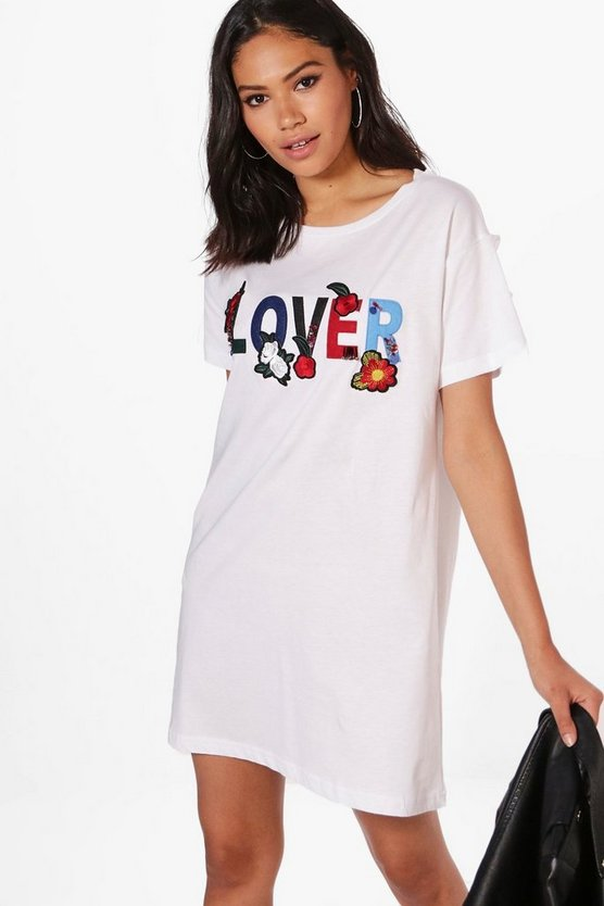 Lauren Slogan Embroidery T-Shirt Dress