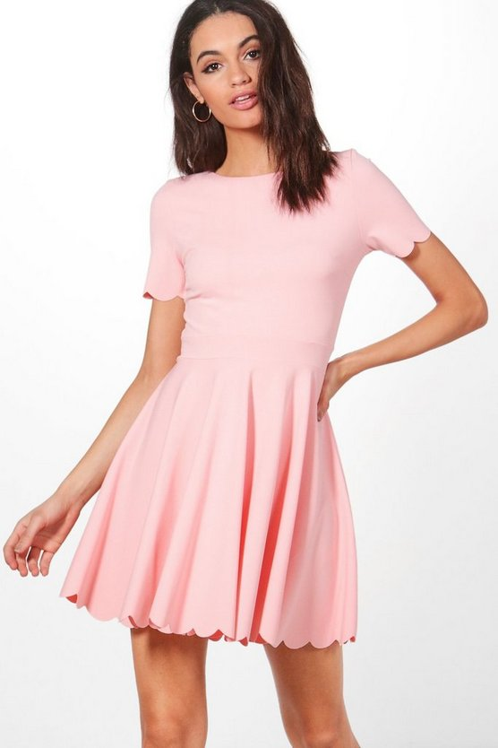 Scallop Detail Skater Dress