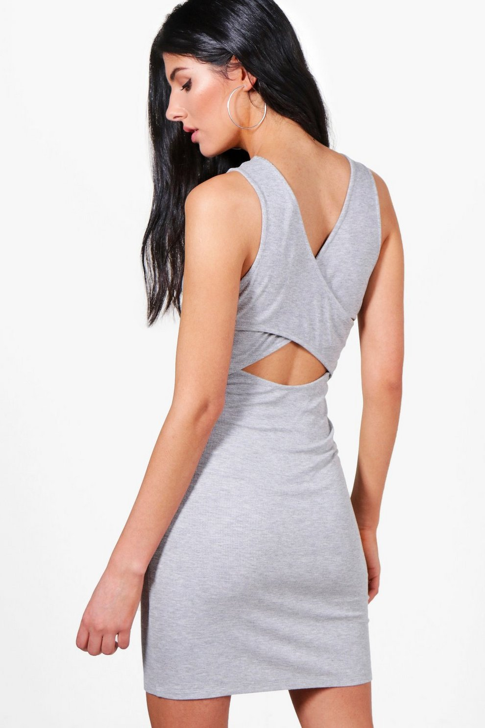 43f19e3208b4b Womens Grey marl Ella Cross Over Back Detail Bodycon Dress