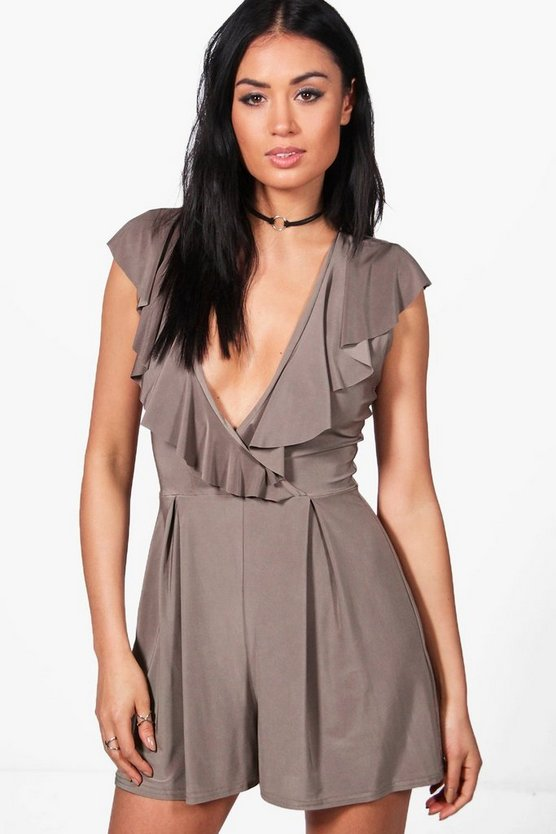 Womens Mocha Lara Ruffle Front Wrapover Playsuits