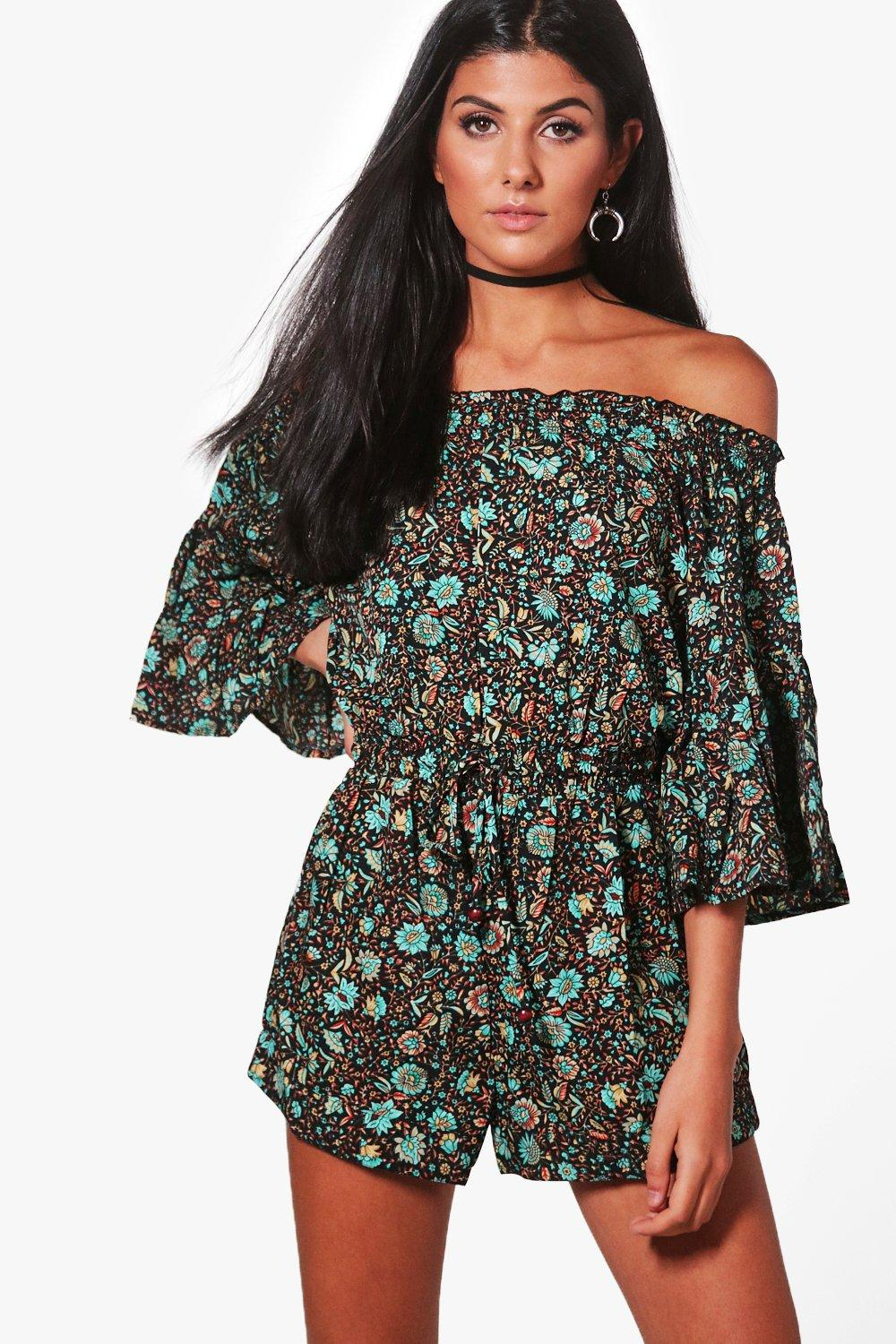Amy Printed Off Shoulder Playsuit