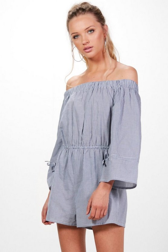 Off The Shoulder Gingham Playsuit