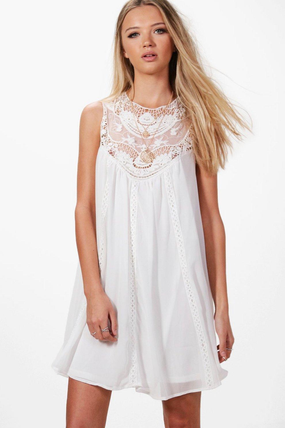 c193203482b8b Beatrice Crochet Lace Swing Dress | Boohoo