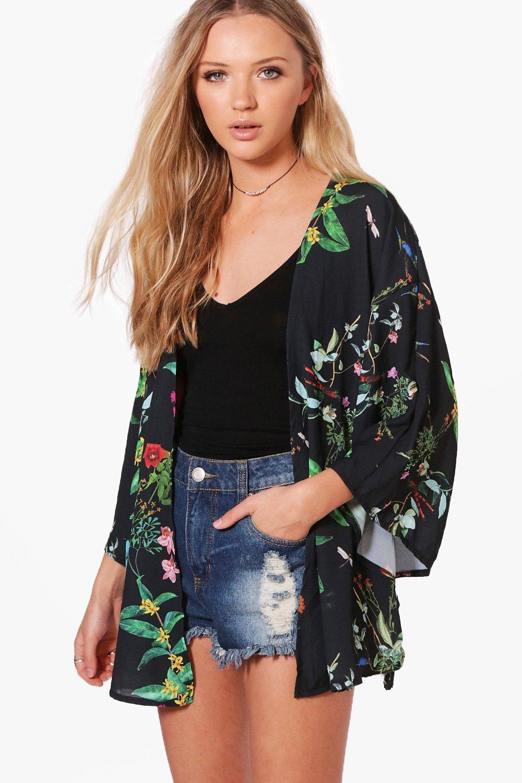 Multicolor con con floral estampado Multicolor estampado Kimono floral Kimono xEzWqAwav