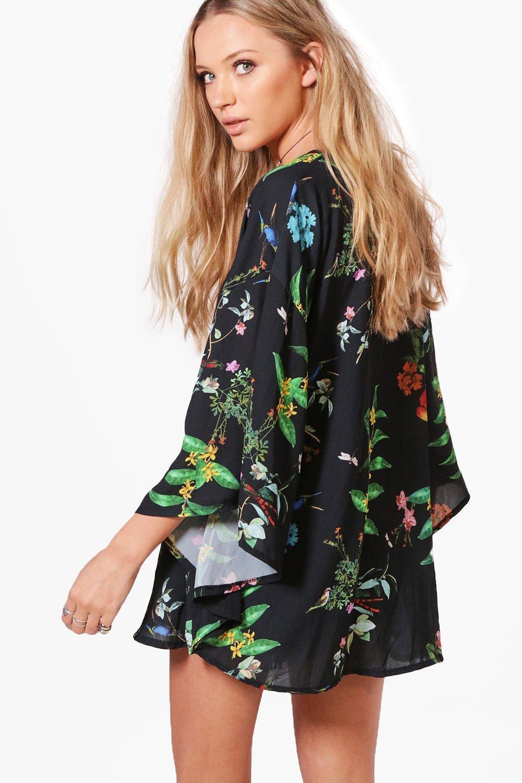 con Kimono floral con Multicolor floral Kimono estampado Kimono estampado con estampado Multicolor t0xwR1Fq