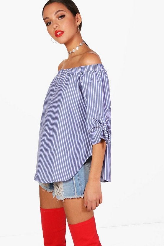 Stripe Woven Tie Sleeve Off The Shoulder Top