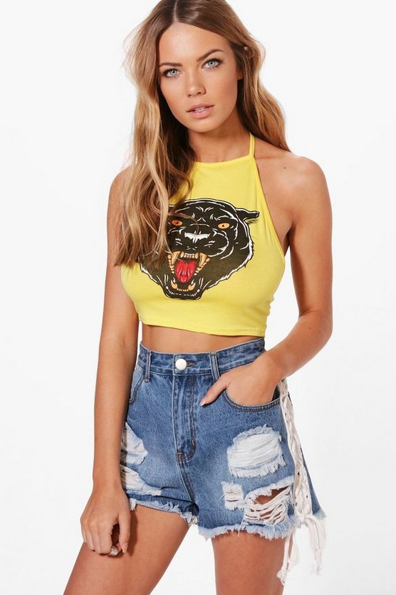 Holly Jaguar Print Halter Crop Top