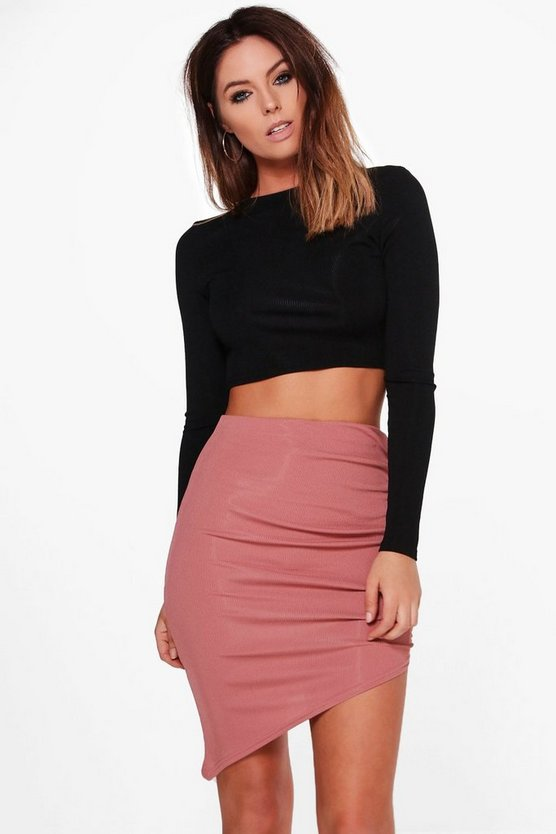 Alyssa Ribbed Asymetric Midi Skirt