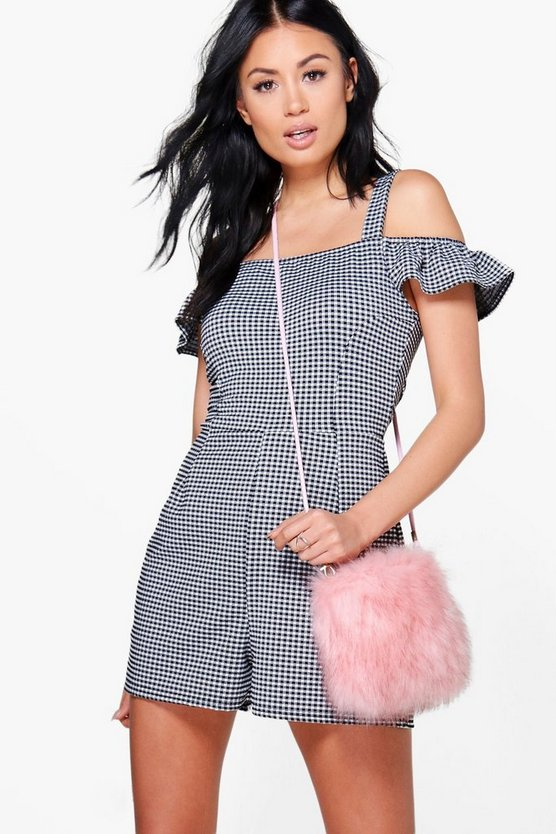 Cold Shoulder Gingham Playsuit