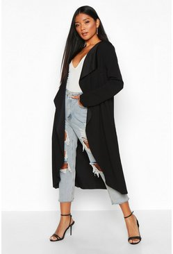Womens Black Waterfall Duster