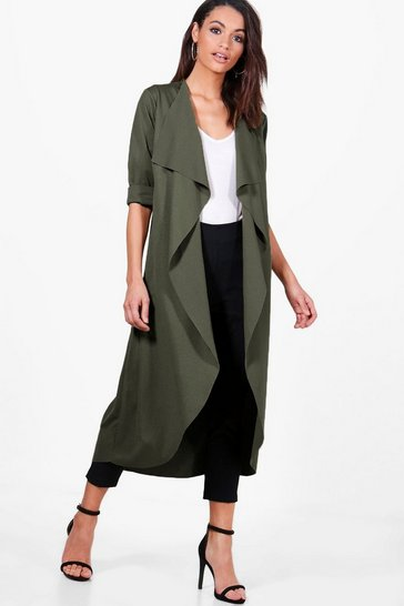 Womens Khaki Waterfall Duster