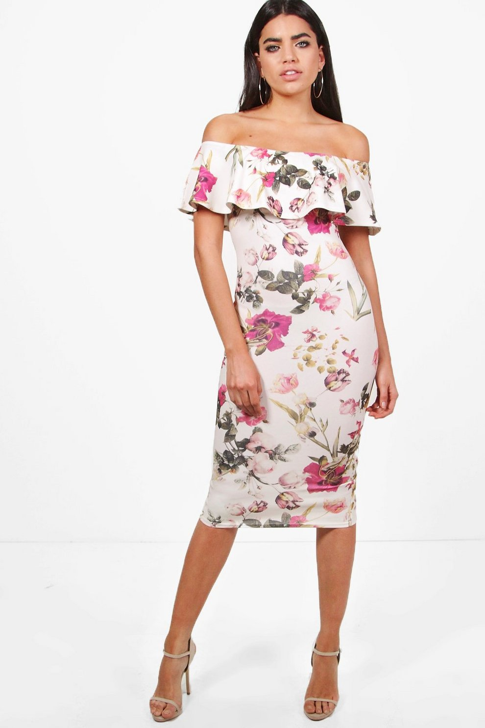 a1f7a308d313 Lucy Floral Double Frill Off The Shoulder Midi Dress | Boohoo