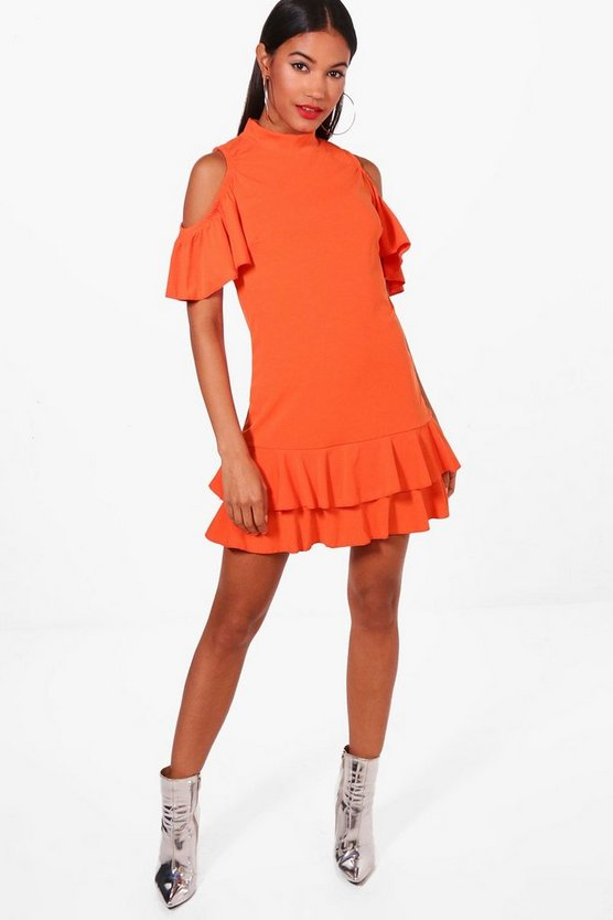 Cold Shoulder Frill Hem Shift Dress