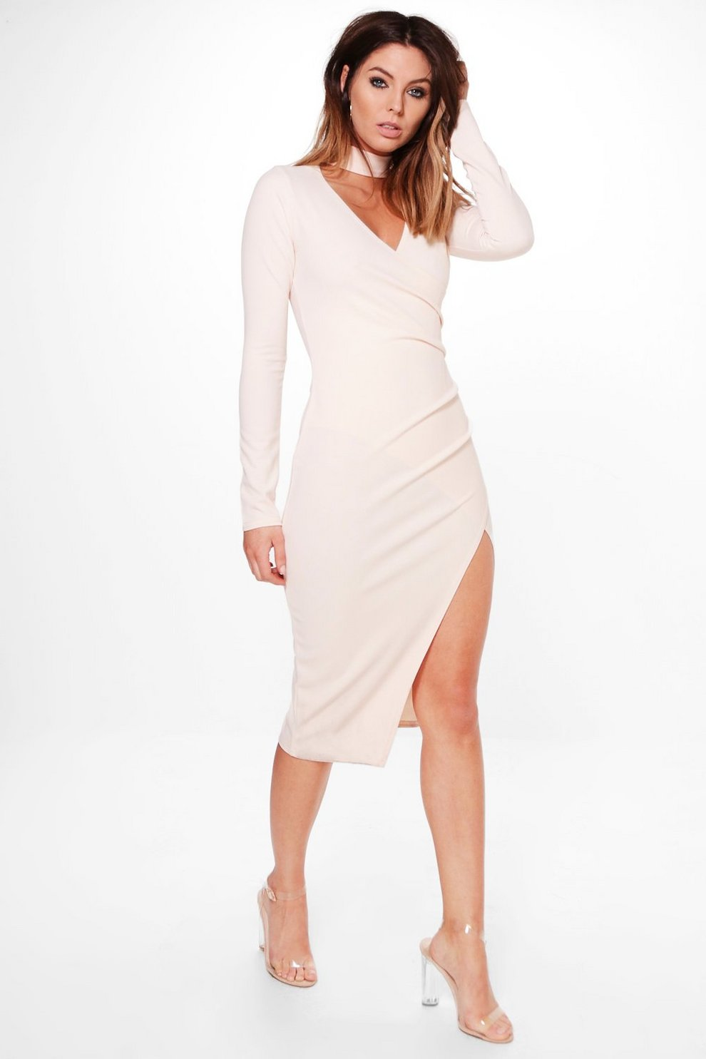 fd3ae6499c8f Choker Wrap Long Sleeve Midi Dress