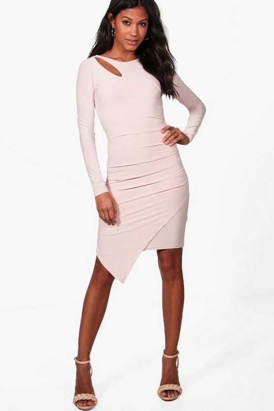 Aria Slinky Ruched Detail Long Sleeve Bodycon Dress