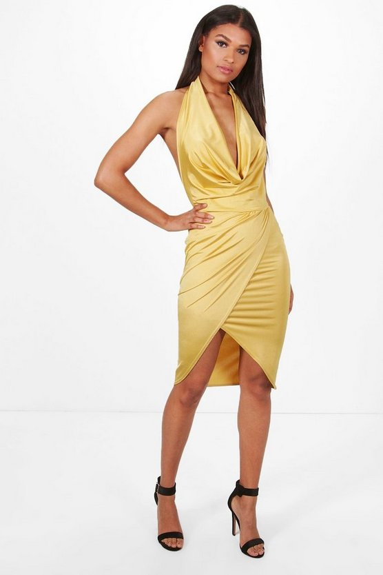 Tia Slinky Cowl Neck Wrap Midi Dress