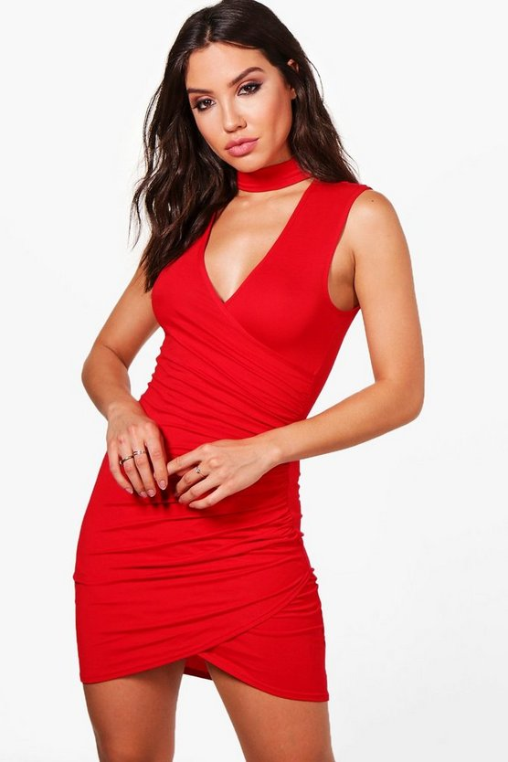 Choker Wrap Detail Bodycon Dress