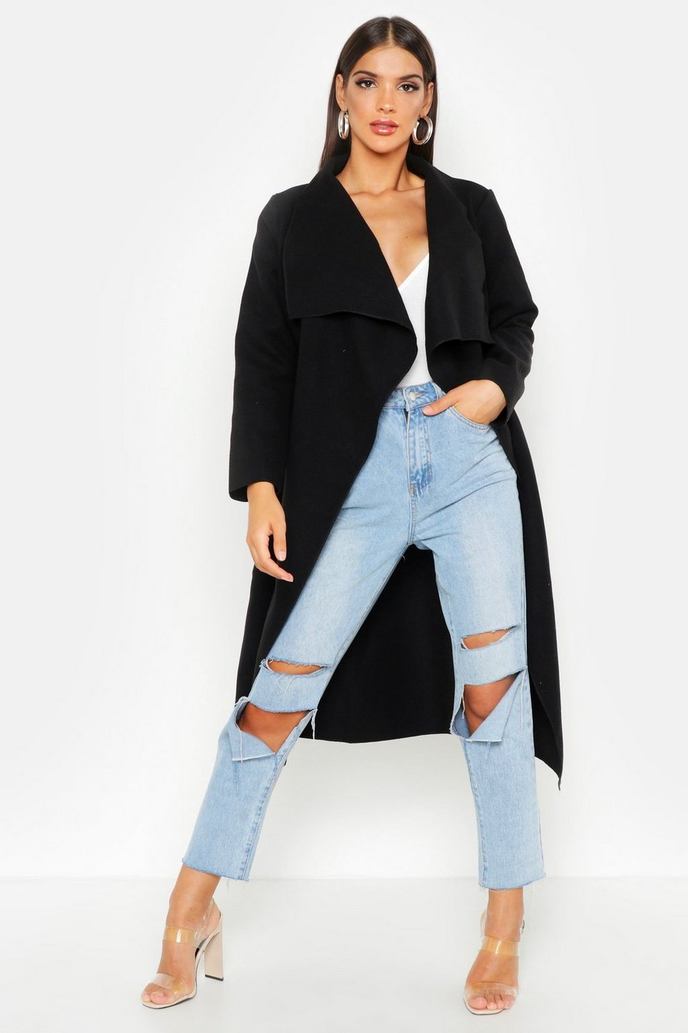 Belted Waterfall Coat | Boohoo
