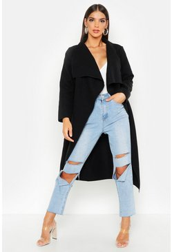 Womens Black Belted Waterfall Coat