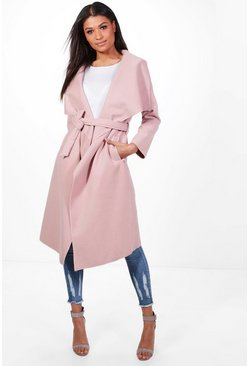 Blush Belted Waterfall Coat