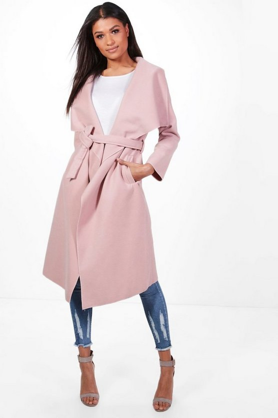 Womens Blush Belted Waterfall Coat
