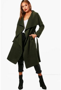 Bottle green Belted Waterfall Coat