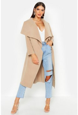 Camel Belted Waterfall Coat