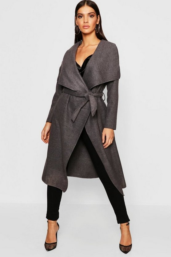 Womens Charcoal Belted Waterfall Coat