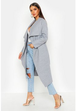 Womens Grey Belted Waterfall Coat