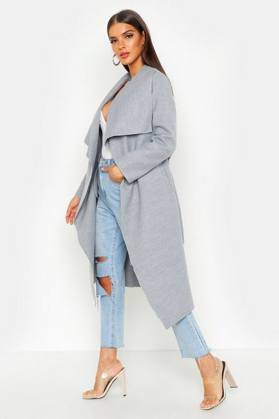Womens Belted Waterfall Coat