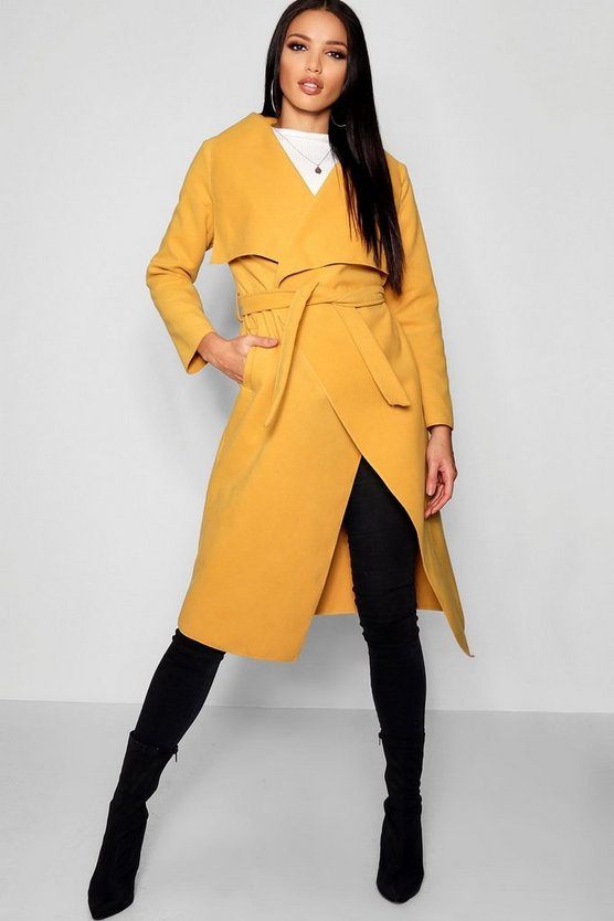 Womens Mustard Belted Waterfall Coat