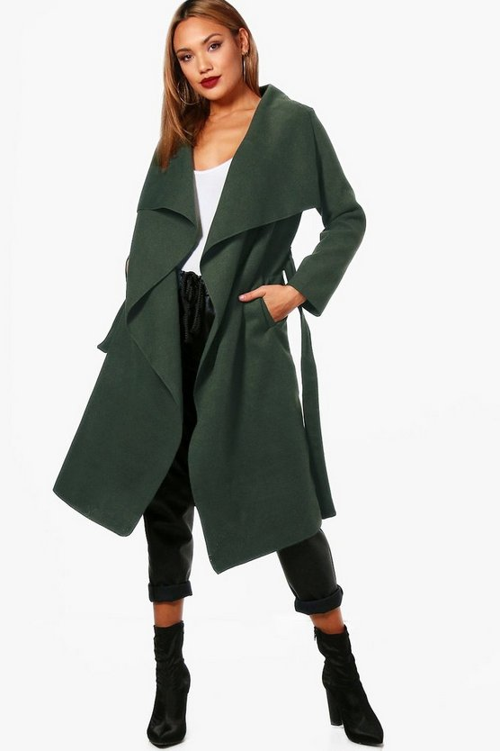 Olive Belted Waterfall Coat