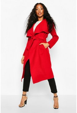 Red Belted Waterfall Coat