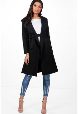 Womens Black Belted Wool Look Shawl Collar Coat