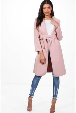 Womens Blush Belted Wool Look Shawl Collar Coat