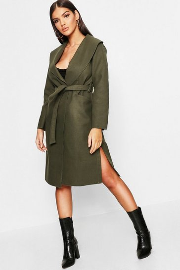 Womens Bottle green Belted Wool Look Shawl Collar Coat